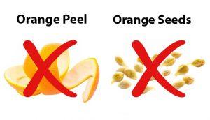 orange peel and seeds